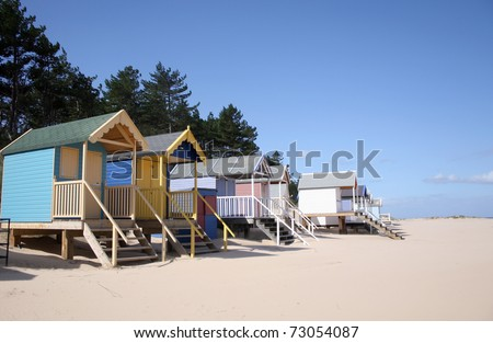 Beach huts at Wells-next-the-Sea on north coast of Norfolk