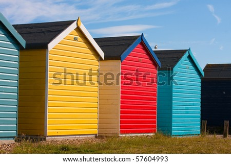 Beach huts in summer - stock photo