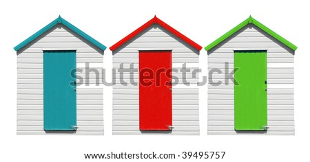 Beach Huts Isolated - stock photo