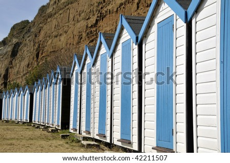 Beach huts near Sandown, Isle of Wight - stock photo