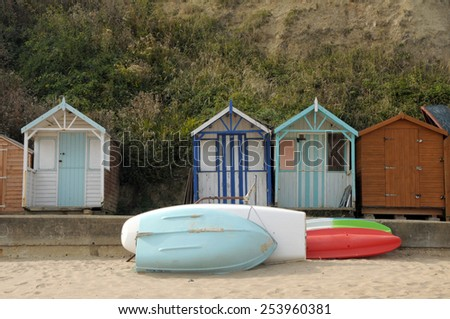 Beach huts on seafront, Swanage, Dorset - stock photo