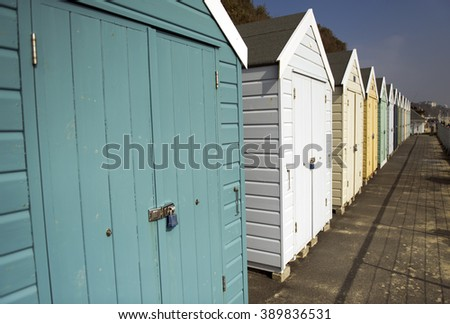 Beach huts on the Beach in Bournemouth  - stock photo