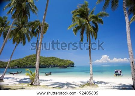 Beach in Angthong national marine park close to Koh Samui, Thailand - stock photo