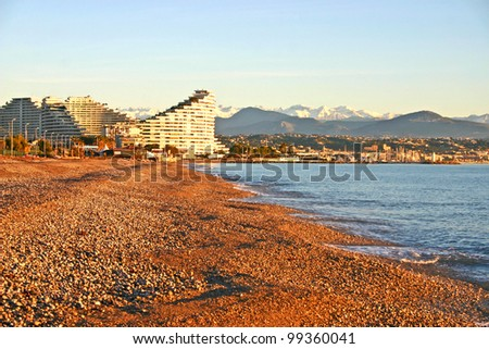 Beach in Antibes, France - stock photo