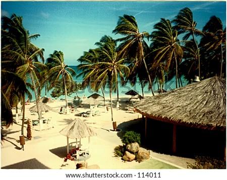 Beach in Aruba - stock photo
