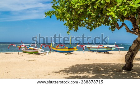 beach in Bali, three multicolored boats ready to sail, Sanur, Indonesia, balinese sea shore with summer calmness and typical boats under tree in a shadow laying on sand beach - stock photo