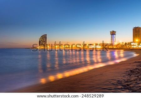 Beach in Barcelona during sunset - stock photo