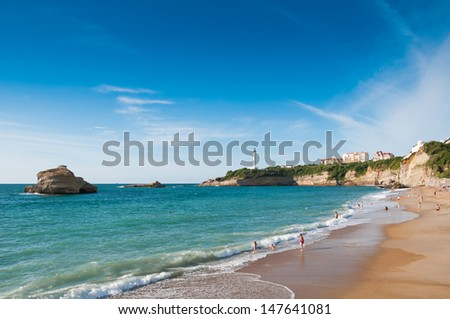 Beach in Biarritz, France - stock photo