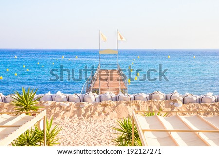 Beach in Cannes - stock photo