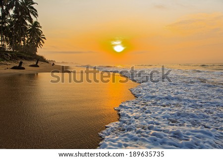 Beach in Cape Coast, Ghana. In the morning - stock photo