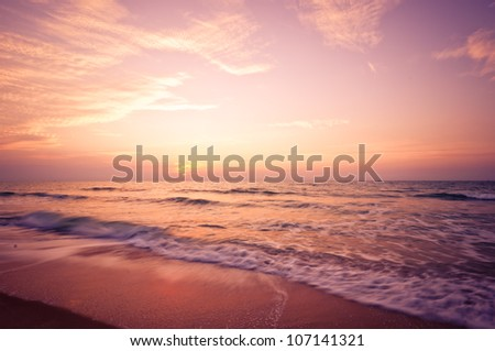 Beach in Cha-am, Thailand. Shoot in the morning before sunrise. - stock photo