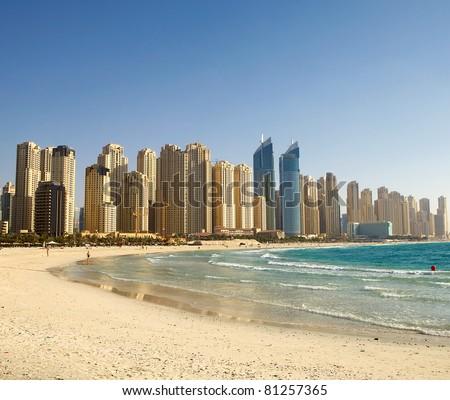 Beach in Dubai. Panoramic view. - stock photo