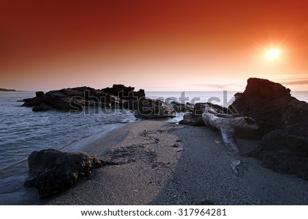 beach in eastern coast of Corsica - stock photo