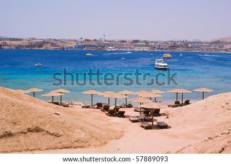 Beach in Egypt - tropical paradise - stock photo