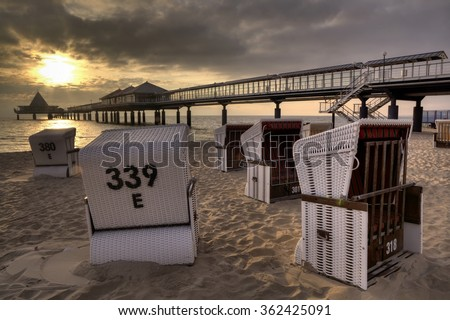 Beach in Heringsdorf, Usedom Island in Germany  - stock photo