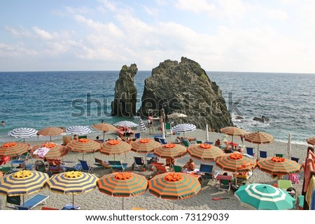 Beach in Italy during the summer - stock photo