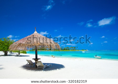 beach in Maldives with few palm trees and blue lagoon - stock photo