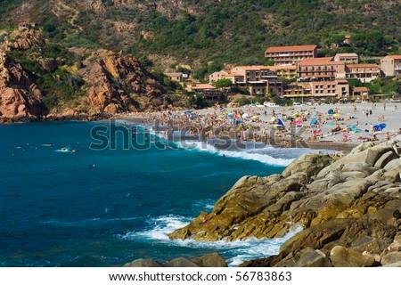 Beach in Porto, Corsica France - stock photo