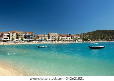 Beach in Primosten, Croatia, Adriatic Sea - stock photo