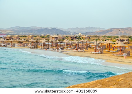 Beach in resort in Marsa Alam, Egypt