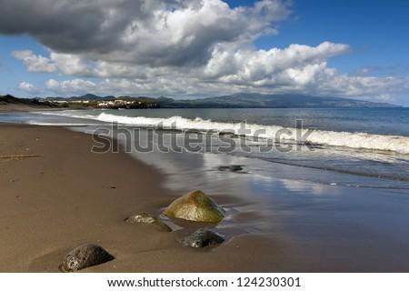 Beach in Ribeira Grande, Island of Sao Miguel, Archipelago of the Azores, Portugal, Europe - stock photo