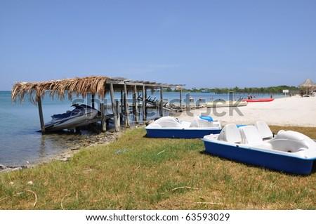 Beach in Roatan in the Honduras - stock photo