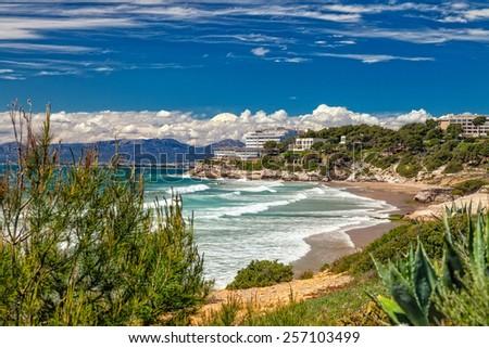 beach in Salou. Costa Dorada. Spain.  - stock photo