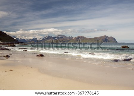 Beach in the Lofoten Archipelago, Norway.