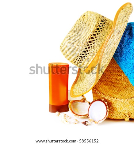 Beach items isolated on white conceptual image of summertime vacation - stock photo