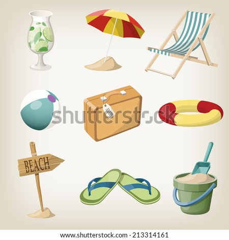 Beach items set. Travel, vacation items. Raster version - stock photo