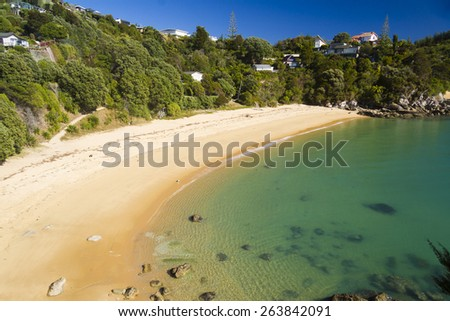 beach kaiteriteri new zealand south island - stock photo