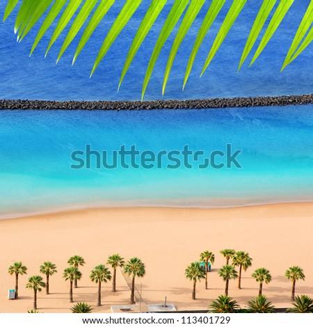 Beach Las Teresitas in Santa cruz de Tenerife north at Canary Islands [Photo Illustration] - stock photo