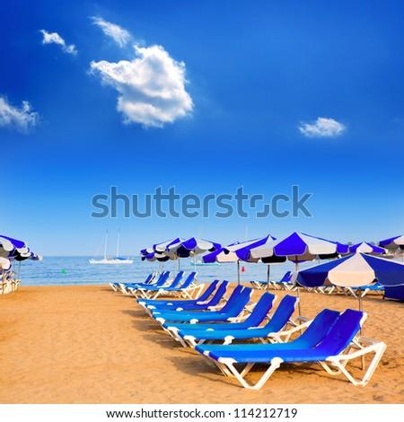 Beach Las vistas in Adeje coast hammocks at Tenerife south Canary Islands - stock photo