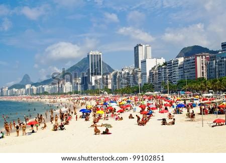 Beach Leme and Copacabana in Rio de Janeiro - stock photo