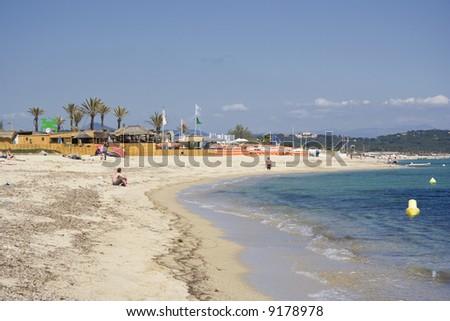 beach life in saint-tropez - french riviera, mediterranean sea - stock photo
