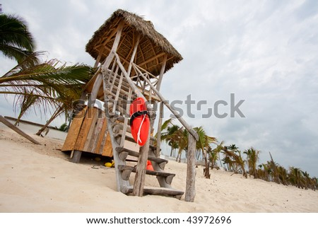 Beach lifeguard tower - stock photo