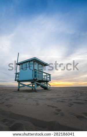 Beach Lifeguard Tower in Hermosa Beach California