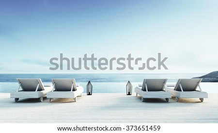 Beach lounge - Sundeck on Sea view for vacation and summer / 3d render  - stock photo