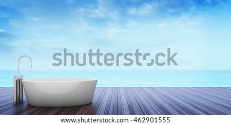 Beach lounge - Sundeck on Sea view Take a bath for vacation and summer . 3d render