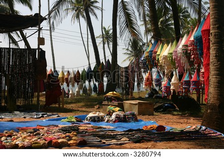 beach market (goa , india) - stock photo