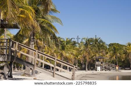 Beach Matheson Hammock Atoll Pool. Cabin on the beach, Hammock Beach, Florida, USA - stock photo