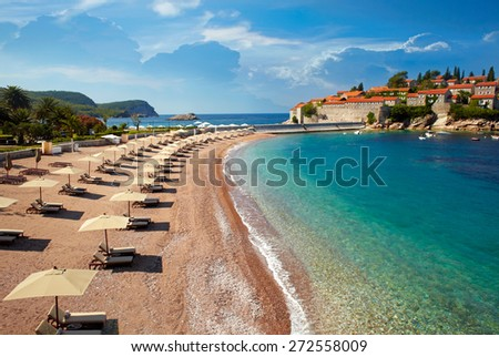 Beach near the island Sveti Stefan. Montenegro - stock photo