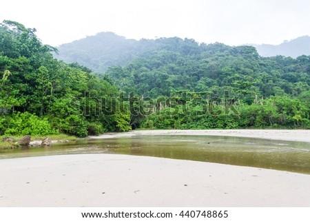 Beach near Trindade village near Paraty, Rio de Janeiro state, Brazil. - stock photo