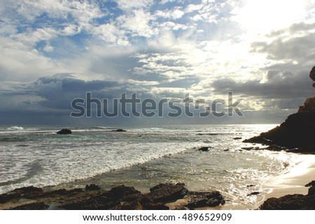 Beach number sixteen at cloudy weather, Rye, Mornington Peninsula, Victoria, Australia