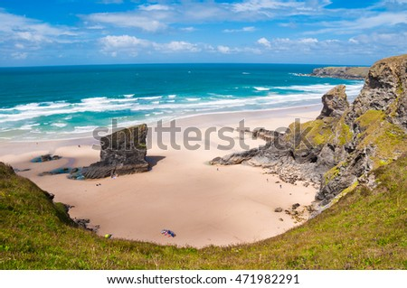 Beach of Bedruthan steps in Cornwall, UK