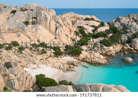 Beach of Cala Coticcio in Caprera island, Sardinia, Italy - stock photo