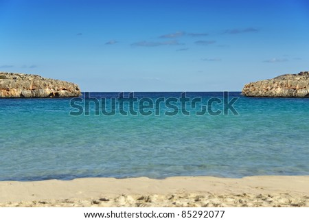 Beach of Cala Marsal in Porto Colom (Majorca - Spain)