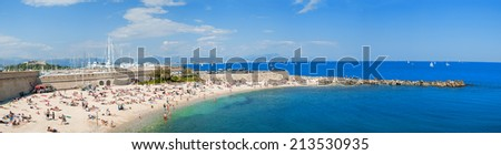 Beach of Cannes on the Azure Coast - France. - stock photo