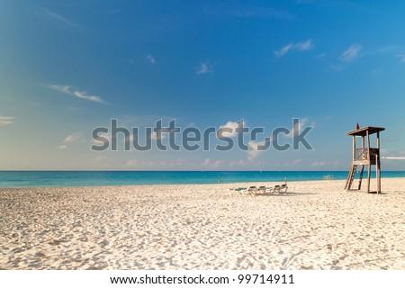 Beach of Caribbean Sea in Mexico - stock photo