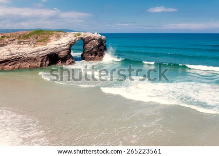 Beach of cathedrals, Galicia, Spain - stock photo